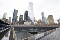 New York 9/11 minnesmärke på World Trade Centerground zero Fotografering för Bildbyråer