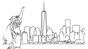 New York mit Statue von Liberty Outline Animation lizenzfreie abbildung
