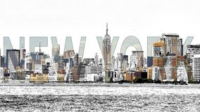 New York Mixed Media - photo with sketch effect stock illustration