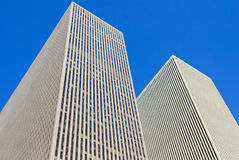 New York modern buildings, isolated on blue sky Stock Photos