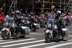 New York Motorcycle police group ride in the Pride parade Royalty Free Stock Photos