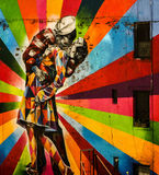 New York murals - sailor kissing a girl - end of war Royalty Free Stock Image