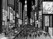 New York - Nachtansicht von Times Square Stockfotografie