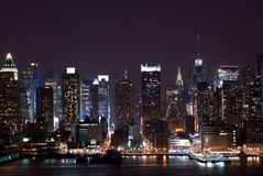 New York nachts stockfotos