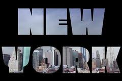 New York name. New York city name - USA travel destination sign on black background Stock Images