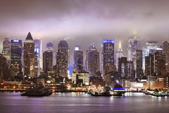 New York nattsikt Arkivfoto