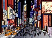 New York - nattsikt av tidfyrkanten Fotografering för Bildbyråer
