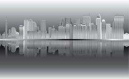 New York nel vettore di notte Illustrazione Vettoriale