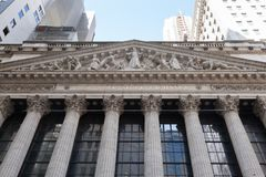 New York Stock Exchange. NEW YORK, NEW YORK - April 5, 2018: Detils of the famous New York Stock Exchange building are seen royalty free stock photography