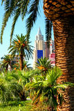 New York-New York Casino and Hotel  in Vegas. Las Vegas Nevada USA - JUN 9 2015: New York-New York Casino and Hotel architecture facade features many of the New Stock Photography