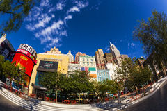New York-New York Casino and Hotel  in Vegas. Las Vegas Nevada USA - JUN 9 2015: New York-New York Casino and Hotel architecture facade features many of the New Royalty Free Stock Photo