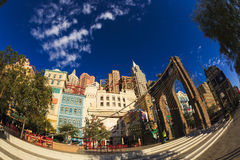 New York-New York Casino and Hotel  in Vegas. Las Vegas Nevada USA - JUN 9 2015: New York-New York Casino and Hotel architecture facade features many of the New Royalty Free Stock Images
