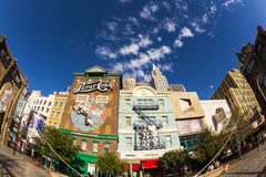 New York-New York Casino and Hotel  in Vegas. Las Vegas Nevada USA - JUN 9 2015: New York-New York Casino and Hotel architecture facade features many of the New Royalty Free Stock Photography