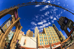 New York-New York Casino and Hotel  in Vegas. Las Vegas Nevada USA - JUN 9 2015: New York-New York Casino and Hotel architecture facade features many of the New Stock Image