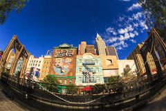 New York-New York Casino and Hotel  in Vegas. Las Vegas Nevada USA - JUN 9 2015: New York-New York Casino and Hotel architecture facade features many of the New Royalty Free Stock Photos
