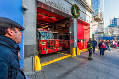 NEW YORK, NEW YORK - DECEMBER 27, 2013: Fireguard in NYC Stock Images