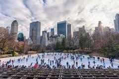 NEW YORK NEW YORK - DECEMBER 27, 2013: New York Central Park isolerade härlig kall gående is för bakgrund den ljusa naturliga åka Royaltyfria Bilder