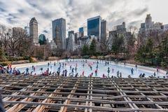 NEW YORK NEW YORK - DECEMBER 27, 2013: New York Central Park isolerade härlig kall gående is för bakgrund den ljusa naturliga åka Fotografering för Bildbyråer