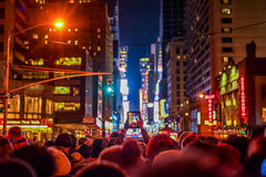 NEW YORK, NEW YORK - DECEMBER 31, 2013: New York Street Before New Years Eve. People Waiting Ball Drop. Stock Photo