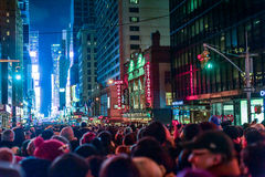 NEW YORK, NEW YORK - DECEMBER 31, 2013: New York Street Before New Years Eve. People Waiting Ball Drop. Royalty Free Stock Photography