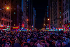 NEW YORK, NEW YORK - DECEMBER 31, 2013: New York Street Before New Years Eve. People Waiting Ball Drop. Royalty Free Stock Image