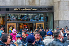 NEW YORK, NEW YORK - DECEMBER 30, 2013: Rockefeller center in New York, Manhattan. NBC Experience Stote. Royalty Free Stock Photo