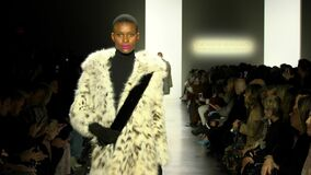 Models walk the runway for Dennis Basso during New York Fashion Week