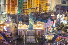 New York-New York Hotel and Casino, Las Vegas, NV, USA. New York-New York Hotel and Casino on Las Vegas Strip at night in Las Vegas, Nevada, USA. This Hotel is royalty free stock images