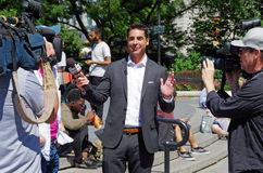New York, New York-July Twenty Sixth, 2017: Jesse Watters from Fox News conducting interviews in Union Square Park, NYC. Stock Images
