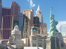 New York New York Las Vegas. This is a picture of the replica of the statue of liberty and the empire stare building in las vegas Royalty Free Stock Photo