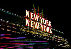 New York New York neon sign on Las Vegas Strip Royalty Free Stock Photos