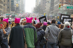 New York, New York, USA- January 21, 2017: Protesters gather for women`s march in Manhattan, New York. Protesters gather for women's march in Manhattan, New stock photos