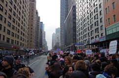 New York, New York, USA- January 21, 2017: Protesters gather for women`s march in Manhattan, New York. Protesters gather for women's march in Manhattan, New royalty free stock images