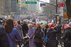 New York, New York, USA- January 21, 2017: Protesters gather for women`s march in Manhattan, New York. Protesters gather for women`s march in Manhattan, New stock photos