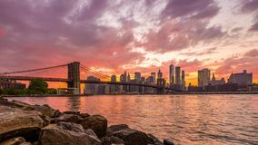 New York City Sunset Skyline stock video footage