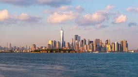 Lower Manhattan Skyline from New York Bay stock video