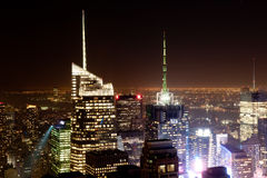 New York by Night. New York skyline at nighttime from Top of the Rock. On the right side Time Square Stock Photos