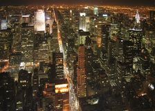 New York at night. The New York City in the night Royalty Free Stock Photo