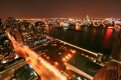 New York at night. Northeast, from 2nd avenue and 44th Street Royalty Free Stock Photos