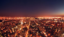 New York at Night. Wide Angle New York Cityscape at night Royalty Free Stock Image