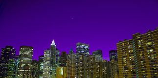 New york at night. A beautiful scene of new york at twilight Royalty Free Stock Photography