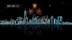 New York by Night with Firework Intro Animatio