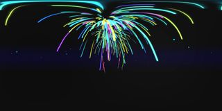 New York by Night with Firework Intro 3D VR stock footage