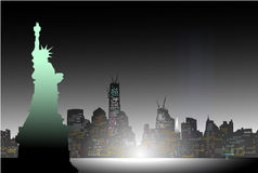 New york at Night. Is a  illustration Royalty Free Stock Photo