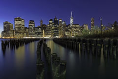 New York at night. Near the east river Royalty Free Stock Photos