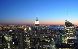 New York night scene. Aerial view of Empire State building and Manhattan skyline viewed at night, New York city, U.S.A Stock Photo