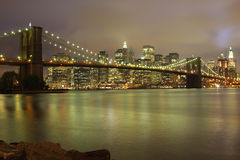 New York night skyline royalty free stock photography