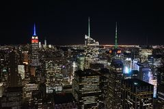 New York by Night from the Skyscraper.  Royalty Free Stock Images