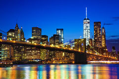 New York. Night view of the New York Citys Brooklyn bridge and with  of lower Manhattan skyline.New York Royalty Free Stock Images