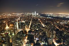 New York at night. View of New York at night from the Empire State Building Royalty Free Stock Photos